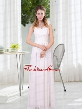 2015 White Empire Ruching Dama Dresses with Asymmetrical BMT025BFOR