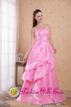 Albany WA Wholesale Customize Rose Pink Sweetheart   Organza A-line Brush Train Beading and Ruch Dama   Dresse Style PDHXQ040FOR