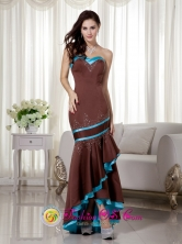 Albury NSWFall Wholesale Sexy Brown and Blue Mermaid   Sweetheart Asymmetrical Satin Beading Dama Dress Style   MLXNEBAY01FOR