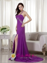 Albury-Wodonga NSW Wholesale Spring Fashionable Purple Column Halter Brush Train Chiffon Beading and Ruch Dama Dress Style MLXN155FOR