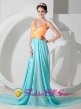 Amazing Aqua Blue and Orange Empire V-neck Brush Train  Beading Dama Dress With Knotbow Decorate In Santa Rita Honduras Wholesale Style MLXNHY04FOR