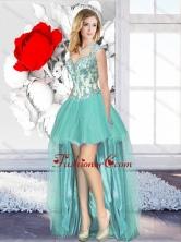 Aqua Blue High Low Cheap Dama Dresses with Appliques SJQDDT128004FOR
