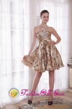 Ararat VIC  Wholesale Customize Sexy Halter  Princess  Knee-length Print Beading Dama  Dress For Summer Style PDATSLJ11FOR