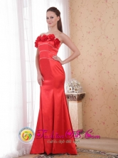 Ballarat VIC  Wholesale Customize Strapless Mermaid Red Court Train Satin Hand Made Flower Dama Dress Style PDHXQ035FOR