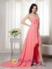 Ballarat VIC Wholesale Elegant Watermelon Empire   Sweetheart High-low Chiffon Beading and Ruch Dama    Dress for Graduation Style MLXN156FOR