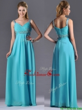 Beautiful Empire Aqua Blue Long Dama Dress with Beading and Ruching THPD260FOR