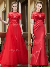 Beautiful See Through Short Sleeves Dama Dress with Removable Train BMT0176FOR