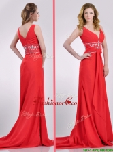 Beautiful V Neck Brush Train Chiffon Beaded Dama Dress in Coral Red THPD281FOR