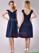 Beautiful V Neck Navy Blue Empire Dama Dress with Cap Sleeves THPD213FOR