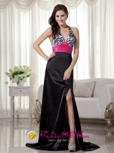 Black and Hot Pink Column  Sheath Halter Zebra Slit  Dress With  Brush Train For Formal Evening In Talanga Honduras Wholesale Style MLXN167FOR