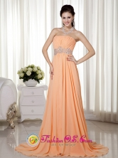 Cairns QLD Summer Wholesale Elegant Orange Red   Empire Strapless Brush Train Chiffon Beading and Ruch   Dama Dress Style MLXN149FOR
