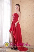 Campbelltown Wholesale NSW Red  High-low Chiffon Beading Sexy Dama Dress With ruching Style PDATS107FOR