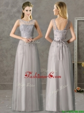 Cheap See Through Scoop Grey Long Dama Dress with Appliques BMT0148FOR