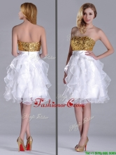 Classical Organza Sequined and Ruffled Dama Dress in White and Gold THPD310FOR