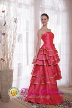 Coral Red Princess For Formal Party Layers Satin Dama Dress with Hand Flower Decorate In San Lorenzo Honduras Wholesale Style PDHXQ069FOR