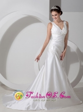 Customer Made Elegent Column V-neck Ruched Bodice Court Train Satin Ruch and Appliques Wedding Dress In Coamo Puerto Rico Wholesale  Style AFE080803FOR