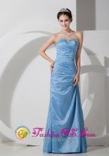 4142e20395c Customer Made Sweetheart Strapless Floor-length Baby Blue Column Taffeta  Beading and Ruch Dama Dress