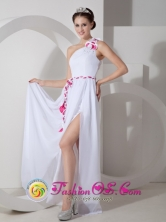 Customer Made White Empire One Shoulder Floor-length High Slit Chiffon Sash Dama Dress Hatillo Puerto Rico Wholesale  Style GNTB080818FOR