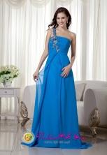Customize Blue Empire One Shoulder Brush Train Chiffon Appliques Dama Dress In Mayaguez Puerto Rico Wholesale  Style MLXN047FOR