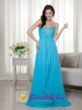 Customized Blue Chiffon Empire Prom Dress with Sweetheart Brush Train Beading In Lares Puerto Rico Wholesale  Style LM004FOR