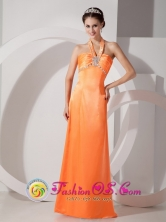 Customized Floor-length Orange Red Halter Satin Beading Ruch Dama Dress In Las Piedras Puerto Rico Wholesale  Style LM080801FOR