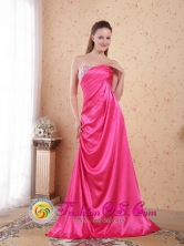 Dandenong VIC  Wholesale Hot Pink Beading and Ruch Empire Sweetheart Brush Train Taffeta Dama Dresses Style PDHXQ039FOR
