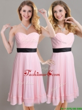 Discount Empire Pleated and Black Belted Dama Dress in Baby Pink THPD229FOR