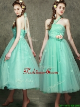 Discount Halter Top Dama Dress with Appliques and Hand Made Flowers BMT095BFOR