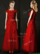 Elegant Empire Applique Red Dama Dress with Cap Sleeves BMT0156FOR