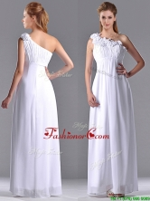 Elegant Empire Hand Crafted Side Zipper White Dama Dress with One Shoulder THPD252FOR