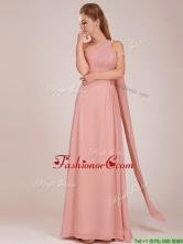 Elegant Empire One Shoulder Ruched Peach Long Dama Dress BMT0166EFOR