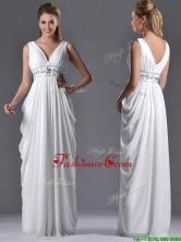 Elegant Empire V Neck Chiffon White Dama Dress for Graduation THPD262FOR