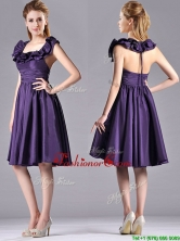 Elegant Halter Top Backless Short Dama Dress in Dark Purple THPD150FOR