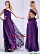 Elegant One Shoulder Criss Cross Purple Dama Dress with Beading THPD151FOR