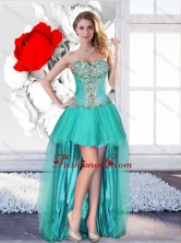 Exclusive Beaded Turquoise Dama Gowns with High Low SJQDDT122004FOR