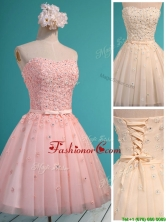 Exquisite Applique and Beaded Sweetheart Dama Dress in Mini Length BMT0125FOR