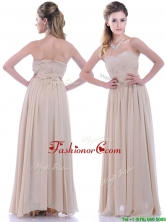 Fashionable Empire Champagne Chiffon Dama Dress with Beading and Ruching THPD127FOR