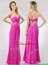 Fashionable Sweetheart Backless Beaded and Ruched Dama Dress in Hot Pink THPD025FOR