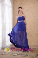 Frankston VIC Wholesale Floor-length Blue Empire Sweetheart Chiffon Beading and Ruch Dama Dress For Summer Style PDHXQ041FOR