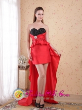 Fremantle WA Wholesale High-low Red and Black Dama   Dresse Beading Sheath Sweetheart Taffeta for Cocktail   Party Style PDHXQ077FOR