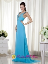 Geelong VIC Wholesale Summer Sexy Baby Blue Column V-neck Brush Train Chiffon Beading and Ruch Dama Dress Style MLXN148FOR