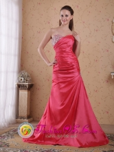 Geelong VIC Wholesale Sweetheart Coral Red A-line Court Train Taffeta Beading and Ruch Dama Dresses For Winter Style PDHXQ043FOR