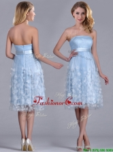 Gorgeous Empire Tea Length Applique Tulle Dama Dress in Light Blue THPD128FOR