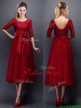 Gorgeous Scoop Half Sleeves Bowknot Dama Dress in Wine Red BMT0107-3FOR