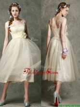 Gorgeous Straps Champagne Dama Dress with Appliques and Hand Made Flowers BMT097CFOR