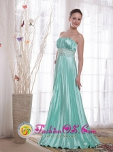 Goulburn NSW Wholesale Apple Green Empire  Shinning Elastic Woven Satin Beading Dama  Dress With Neat Ruching Style PDATS114FOR