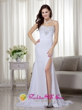 Greater Hobart Wholesale High Slit White Column   Sweetheart Brush Train Chiffon Beading and RuchDama   Dresses for Formal Evening Style MLXN147FOR