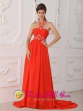 Halter Red Evening Dress  Empire Court Train Chiffon Beading for 2013 Dorado Puerto Rico Summer Wholesale  Style PDML092FOR