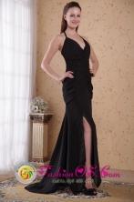 Halter-top Black Column Sheath Brush 2013 Utuado Puerto Rico Chiffon Ruch Prom Dress Wholesale  Style PDATS2016FOR