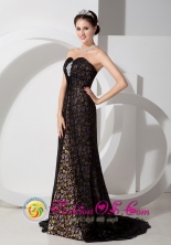 Handmade Black Column Sweetheart strapless Brush Train Floral Print Organza Beading For 2013 Dama In Florida Puerto Rico Wholesale  Style AFE080804FOR